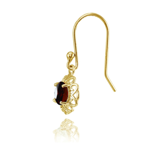 Yellow Gold over Sterling Silver Garnet Round Filigree Dangle Earrings