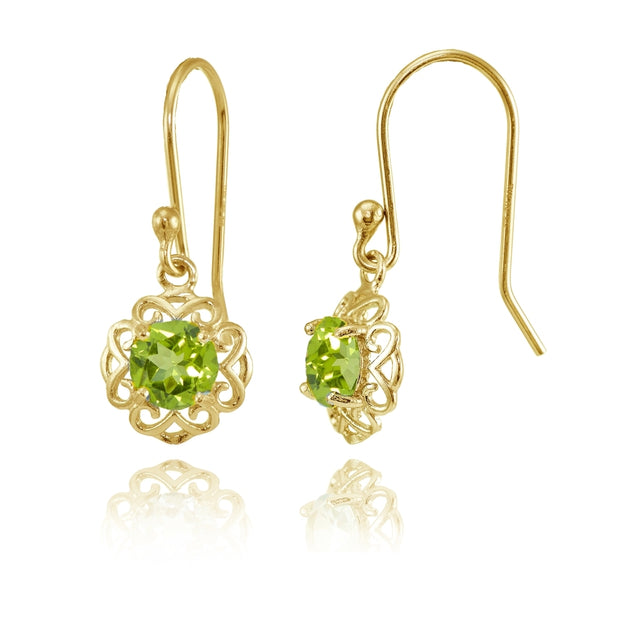 Yellow Gold over Sterling Silver Peridot Round Filigree Dangle Earrings