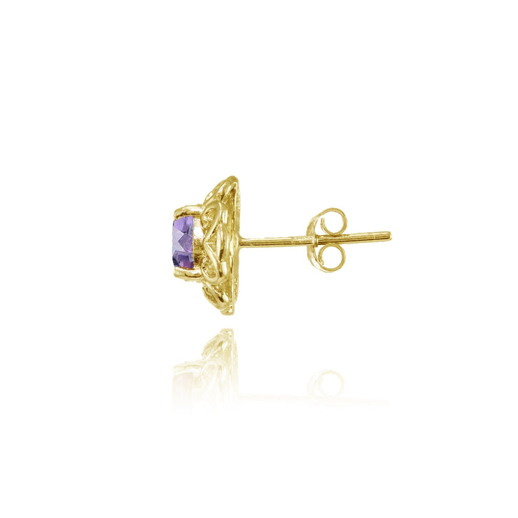 Yellow Gold Flashed Sterling Silver Amethyst Round Filigree Stud Earrings