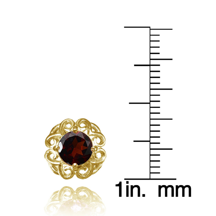 Yellow Gold Flashed Sterling Silver Garnet Round Filigree Stud Earrings