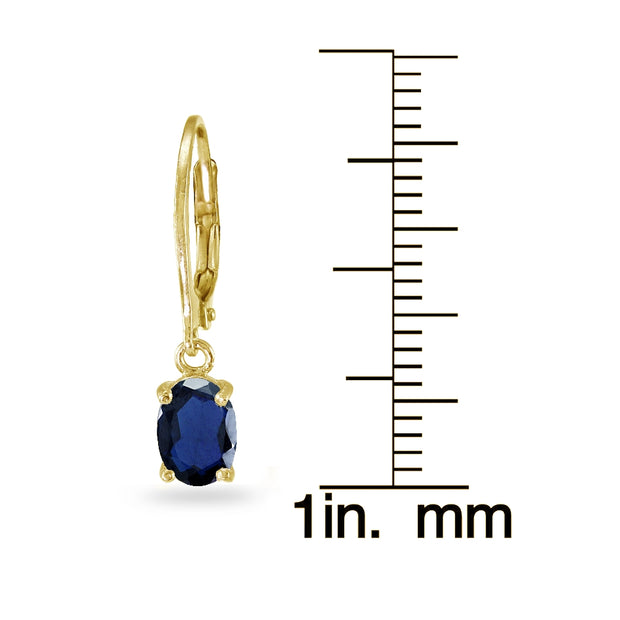 Yellow Gold Flashed Sterling Silver Created Blue Sapphire 7x5mm Oval Dangle Leverback Earrings