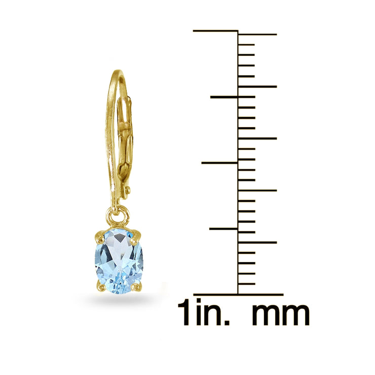 Yellow Gold Flashed Sterling Silver Blue Topaz 7x5mm Oval Dangle Leverback Earrings