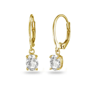 Yellow Gold Flashed Sterling Silver Created White Sapphire 7x5mm Oval Dangle Leverback Earrings