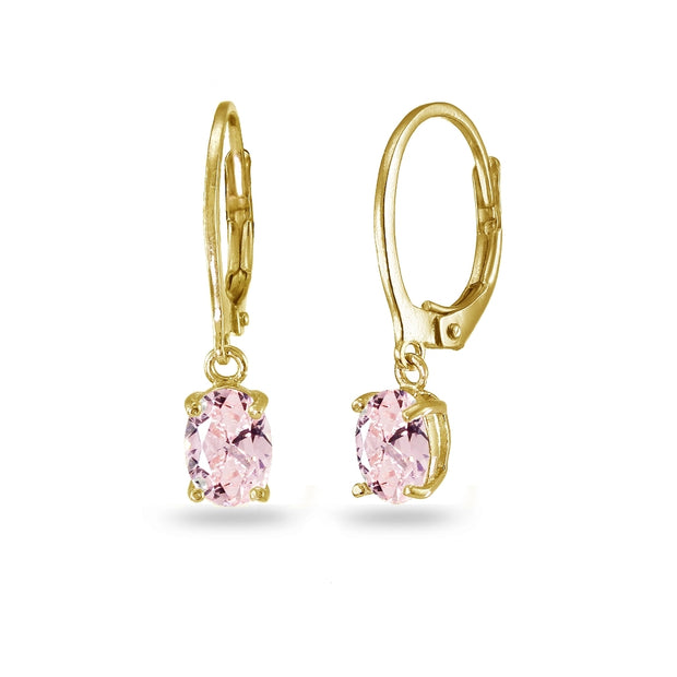 Yellow Gold Flashed Sterling Silver Created Morganite 7x5mm Oval Dangle Leverback Earrings