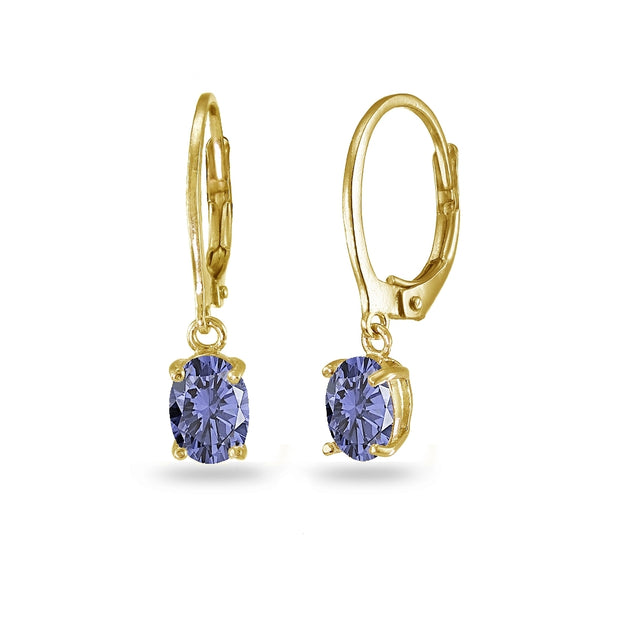 Yellow Gold Flashed Sterling Silver Created Tanzanite 7x5mm Oval Dangle Leverback Earrings