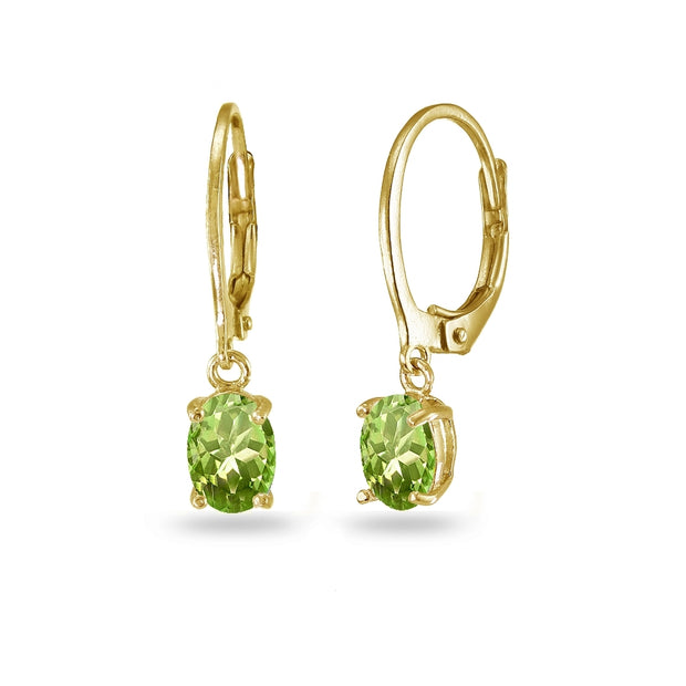 Yellow Gold Flashed Sterling Silver Peridot 7x5mm Oval Dangle Leverback Earrings