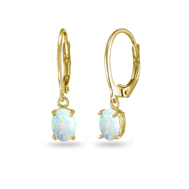 Yellow Gold Flashed Sterling Silver Created White Opal 7x5mm Oval Dangle Leverback Earrings