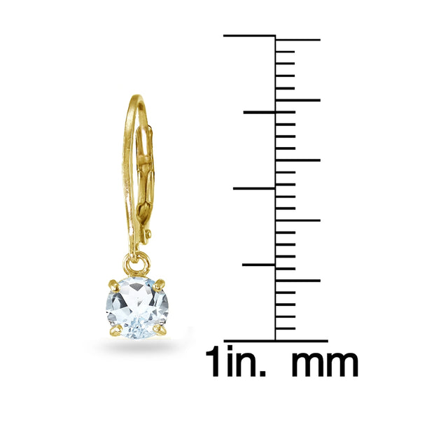 Yellow Gold Flashed Sterling Silver Aquamarine 6mm Round Dangle Leverback Earrings