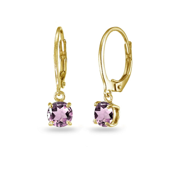 Yellow Gold Flashed Sterling Silver Simulated Alexandrite 6mm Round Dangle Leverback Earrings