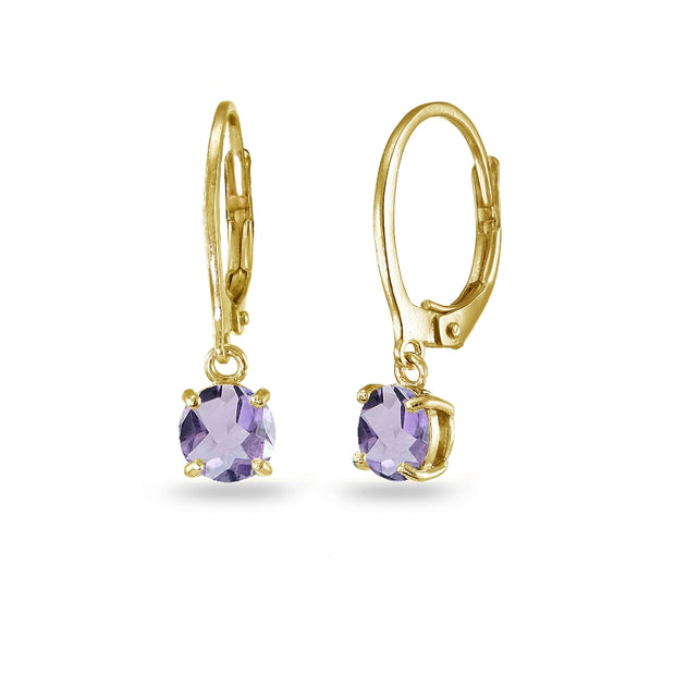 Yellow Gold Flashed Sterling Silver Amethyst 6mm Round Dangle Leverback Earrings