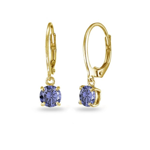 Yellow Gold Flashed Sterling Silver Created Tanzanite 6mm Round Dangle Leverback Earrings