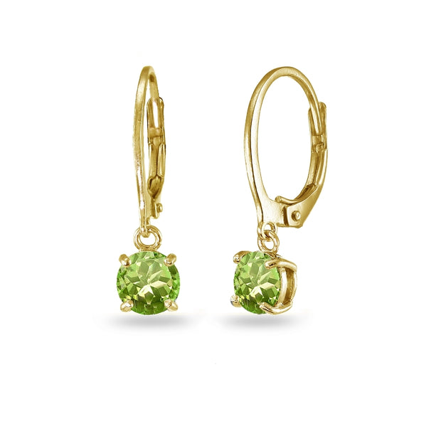 Yellow Gold Flashed Sterling Silver Peridot 6mm Round Dangle Leverback Earrings