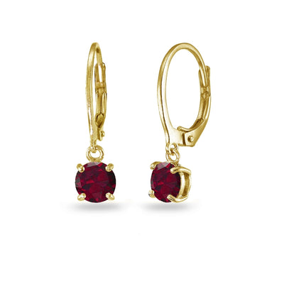Yellow Gold Flashed Sterling Silver Created Ruby 6mm Round Dangle Leverback Earrings