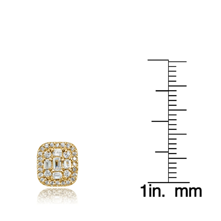 Yellow Gold Flashed Silver Cubic Zirconia Baguette and Round Cut Stud Earrings