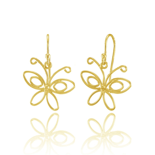 Yellow Gold Flashed Sterling Silver Open Butterfly Lightweight Dangle Earrings