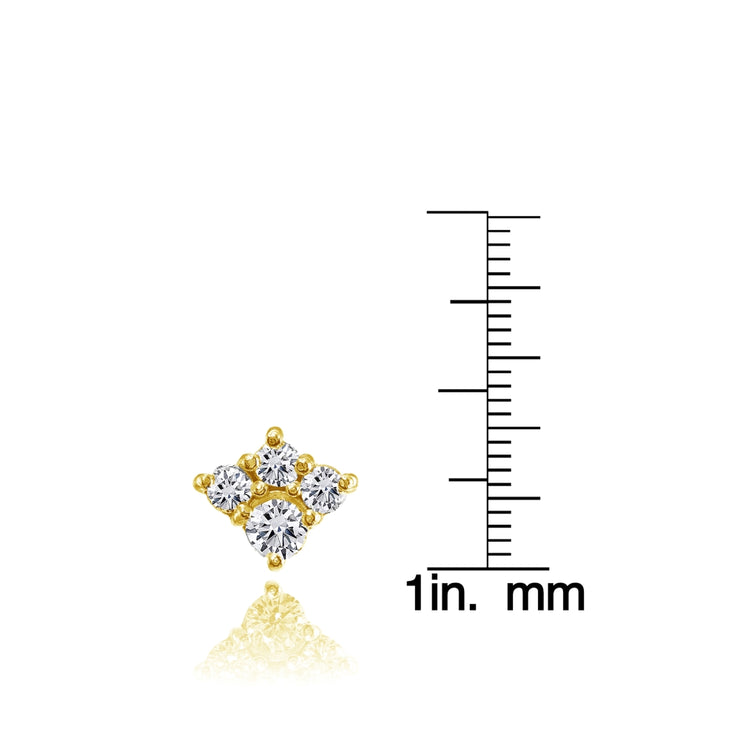 Yellow Gold Flashed Sterling Silver Cubic Zirconia 4-Stone Cluster Stud Earrings