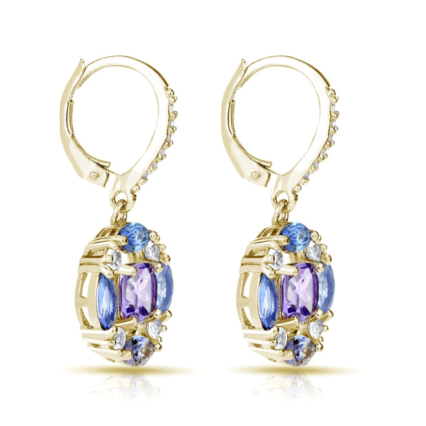 Yellow Gold Flash Sterling Silver Amethyst, Tanzanite and White Topaz Circle Dangle Leverback Earrings
