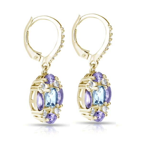 Yellow Gold Flashed Sterling Silver Blue Topaz, Amethyst and White Topaz Circle Dangle Leverback Earrings