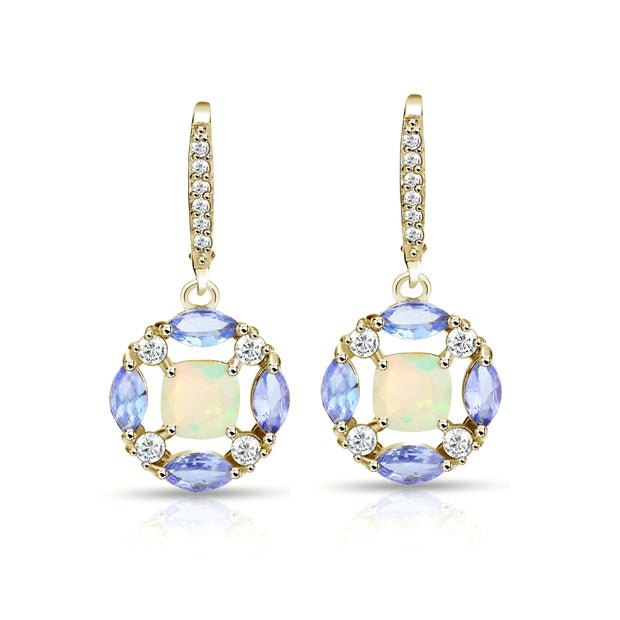 Yellow Gold Flashed Sterling Silver Ethiopian Opal, Tanzanite and White Topaz Circle Dangle Leverback Earrings