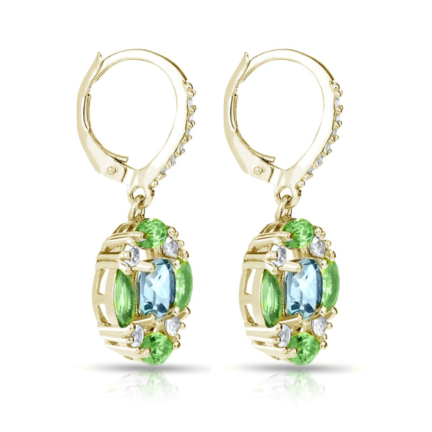 Yellow Gold Flashed Sterling Silver Blue Topaz, Peridot and White Topaz Circle Dangle Leverback Earrings