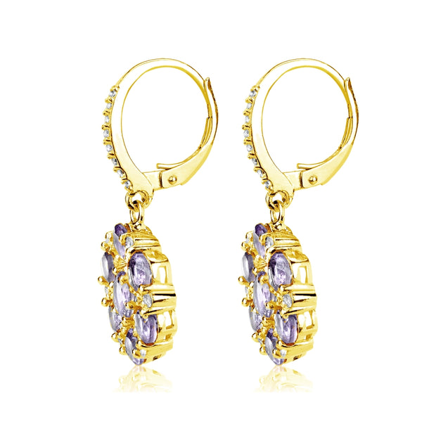 Yellow Gold Flashed Sterling Silver Amethyst and White Topaz Flower Dangle Leverback Earrings