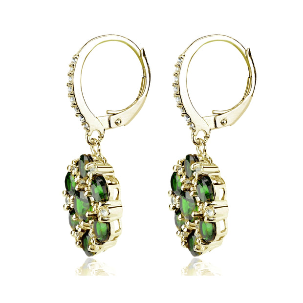 Yellow Gold Flashed Sterling Silver Created Emerald and White Topaz Flower Dangle Leverback Earrings