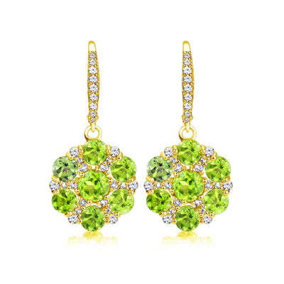 Yellow Gold Flashed Sterling Silver Peridot and White Topaz Flower Dangle Leverback Earrings