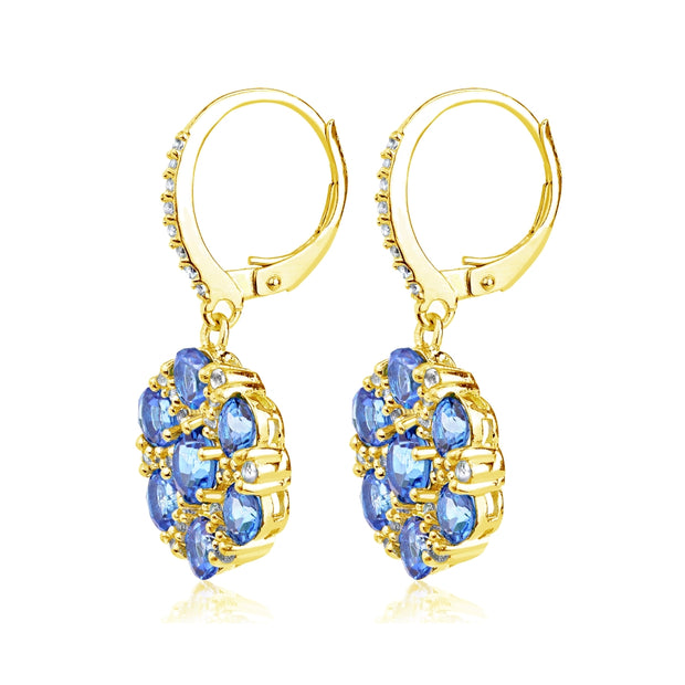 Yellow Gold Flashed Sterling Silver Tanzanite and White Topaz Flower Dangle Leverback Earrings