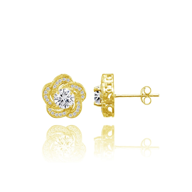 Yellow Gold Flashed Sterling Silver Cubic Zirconia Swirl Flower Stud Earrings