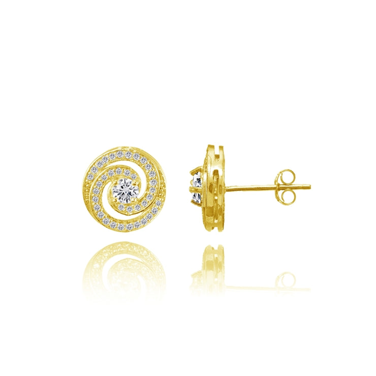 Yellow Gold Flashed Sterling Silver Cubic Zirconia Round Swirl Stud Earrings