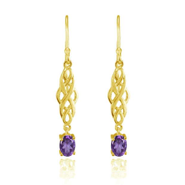 Yellow Gold Flashed Sterling Silver African Amethyst Oval Celtic Knot Drop Dangle Earrings
