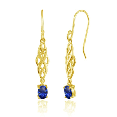 Yellow Gold Flashed Sterling Silver Created Blue Sapphire Oval Celtic Knot Drop Dangle Earrings