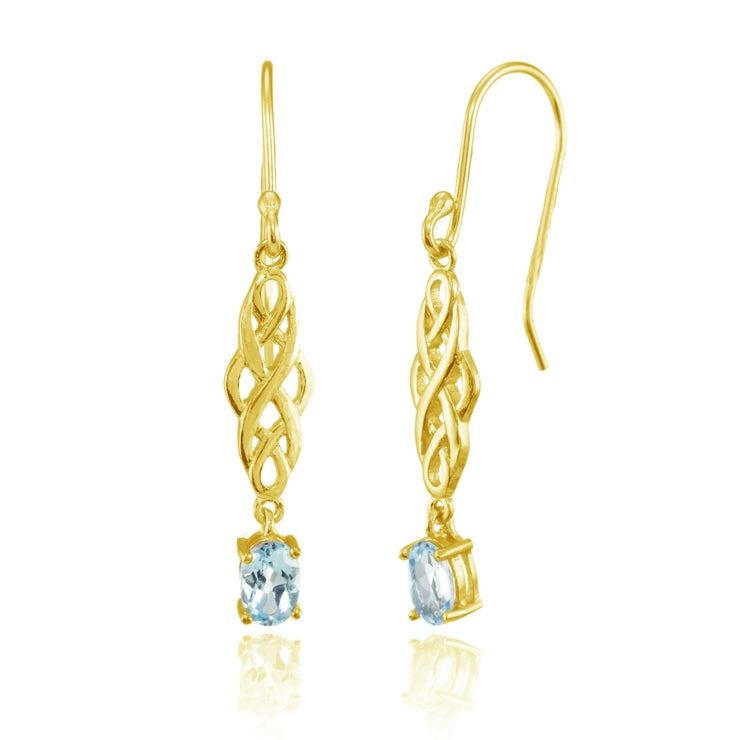Yellow Gold Flashed Sterling Silver Blue Topaz Oval Celtic Knot Drop Dangle Earrings