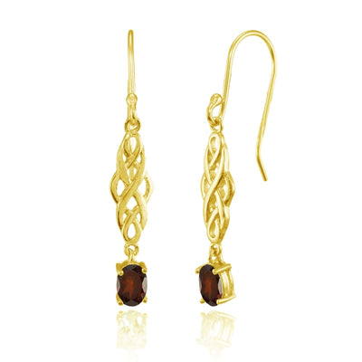 Yellow Gold Flashed Sterling Silver Garnet Oval Celtic Knot Drop Dangle Earrings