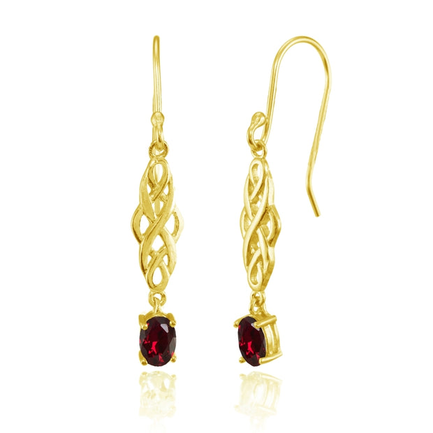 Yellow Gold Flashed Sterling Silver Created Ruby Oval Celtic Knot Drop Dangle Earrings