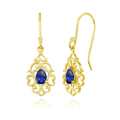 Yellow Gold Flashed Sterling Silver Created Blue Sapphire Filigree Heart Teardrop Dangle Earrings