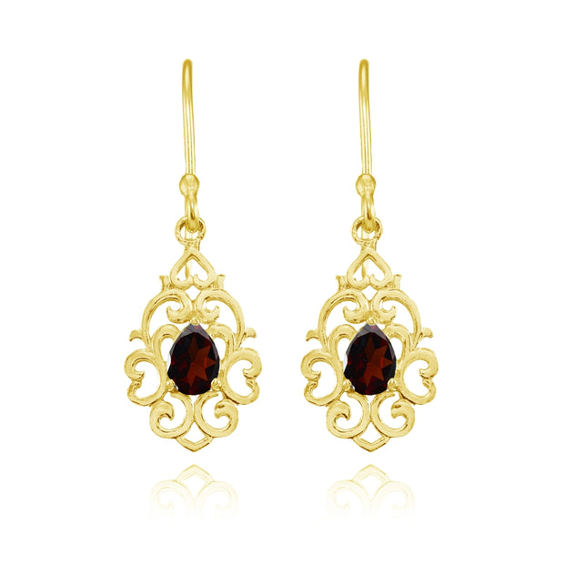 Yellow Gold Flashed Sterling Silver Garnet Filigree Heart Teardrop Dangle Earrings