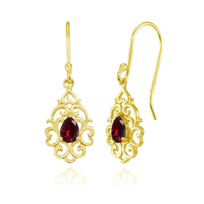 Yellow Gold Flashed Sterling Silver Created Ruby Filigree Heart Teardrop Dangle Earrings