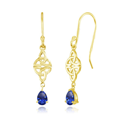 Yellow Gold Flashed Sterling Silver Created Blue Sapphire Celtic Trinity Knot Teardrop Dangle Drop Earrings