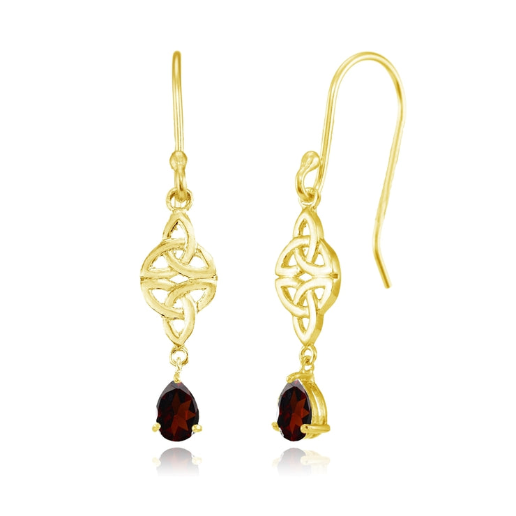 Yellow Gold Flashed Sterling Silver Garnet Celtic Trinity Knot Teardrop Dangle Drop Earrings