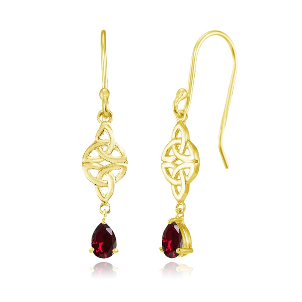 Yellow Gold Flashed Sterling Silver Created Ruby Celtic Trinity Knot Teardrop Dangle Drop Earrings