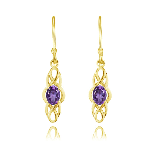 Yellow Gold Flashed Sterling Silver African Amethyst Celtic Knot Oval Dangle Drop Earrings