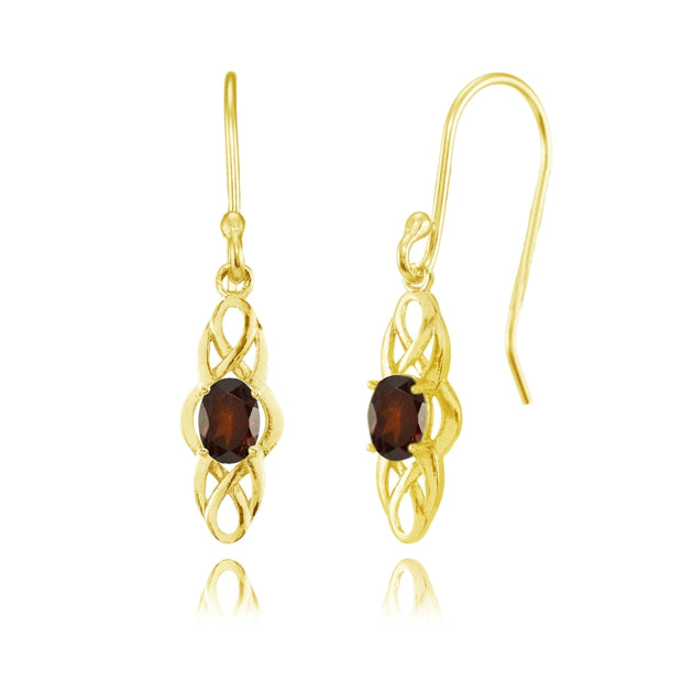 Yellow Gold Flashed Sterling Silver Garnet Celtic Knot Oval Dangle Drop Earrings