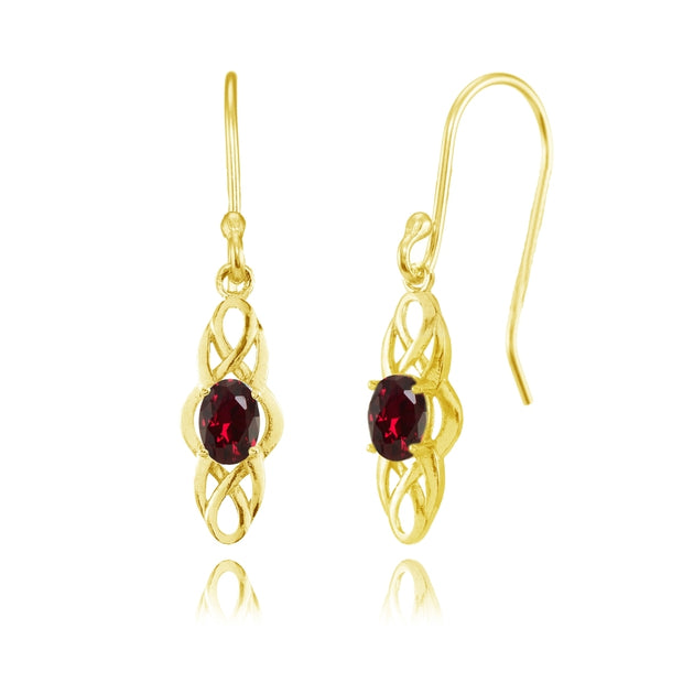 Yellow Gold Flashed Sterling Silver Created Ruby Celtic Knot Oval Dangle Drop Earrings