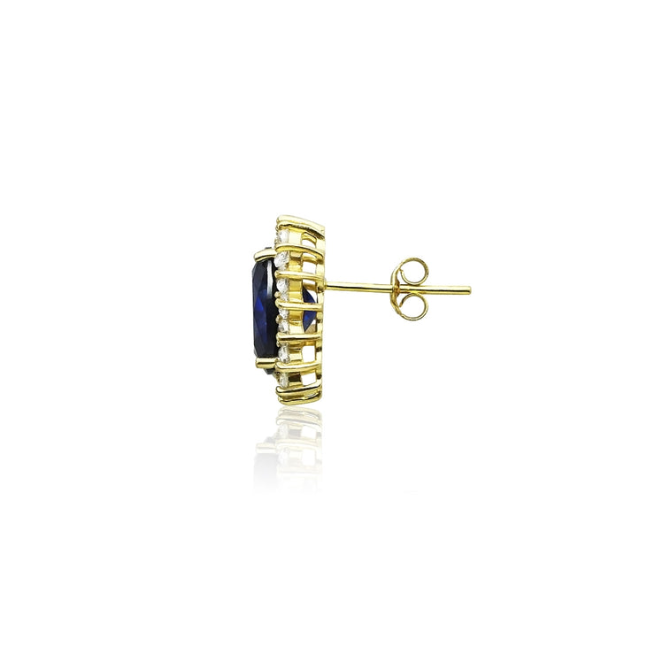 Yellow Gold Flashed Sterling Silver Royal Blue Cubic Zirconia Oval Stud Earrings