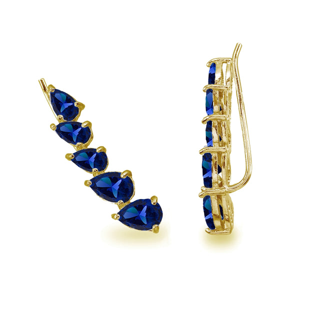 Gold Flash Sterling Silver Created Blue Sapphire Teardrop Curved Climber Crawler Earrings