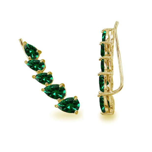 Gold Flash Sterling Silver Simulated Emerald Teardrop Curved Climber Crawler Earrings