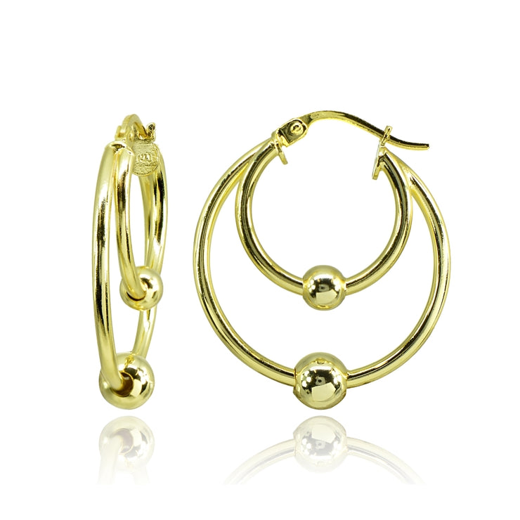 Yellow Gold Flashed Sterling Silver High Polished Double Hoop with Bead Earrings