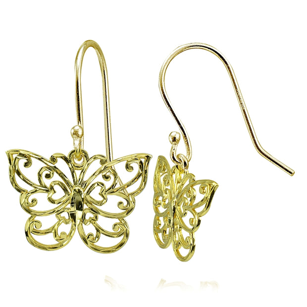 Yellow Gold Flashed Sterling Silver High Polished Diamond-cut Filigree Butterfly Dangle Earrings