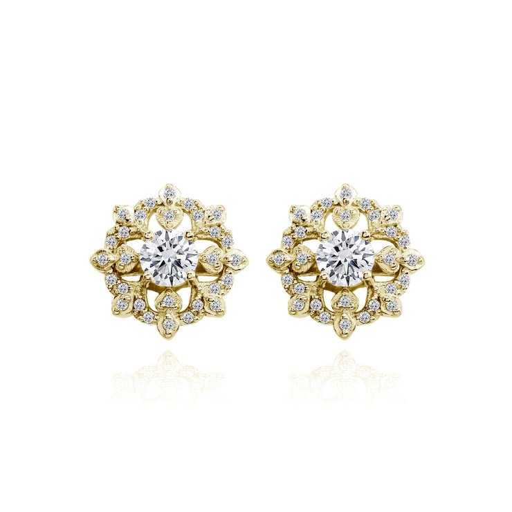 Yellow Gold Flashed Sterling Silver Cubic Zirconia Round Snowflake Stud Earrings